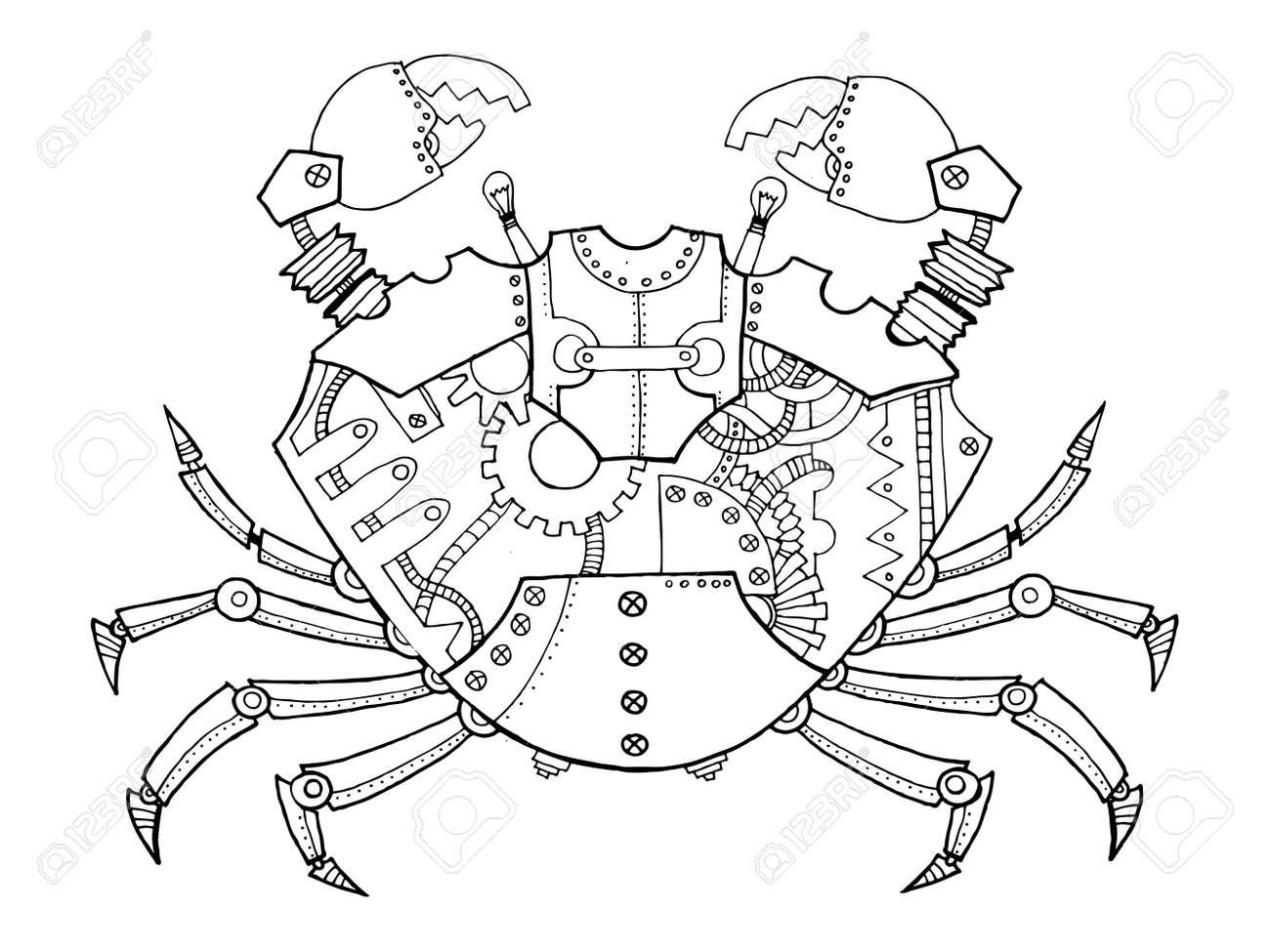 Cangrejo Estilo Steampunk. Animal Mecánico. Ilustración Vectorial