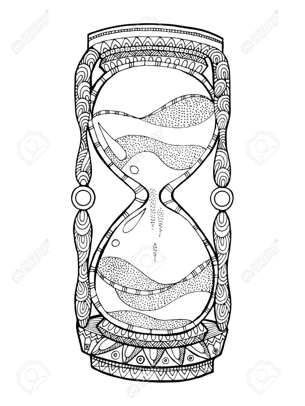 Reloj De Arena Para Colorear Ilustración Vectorial