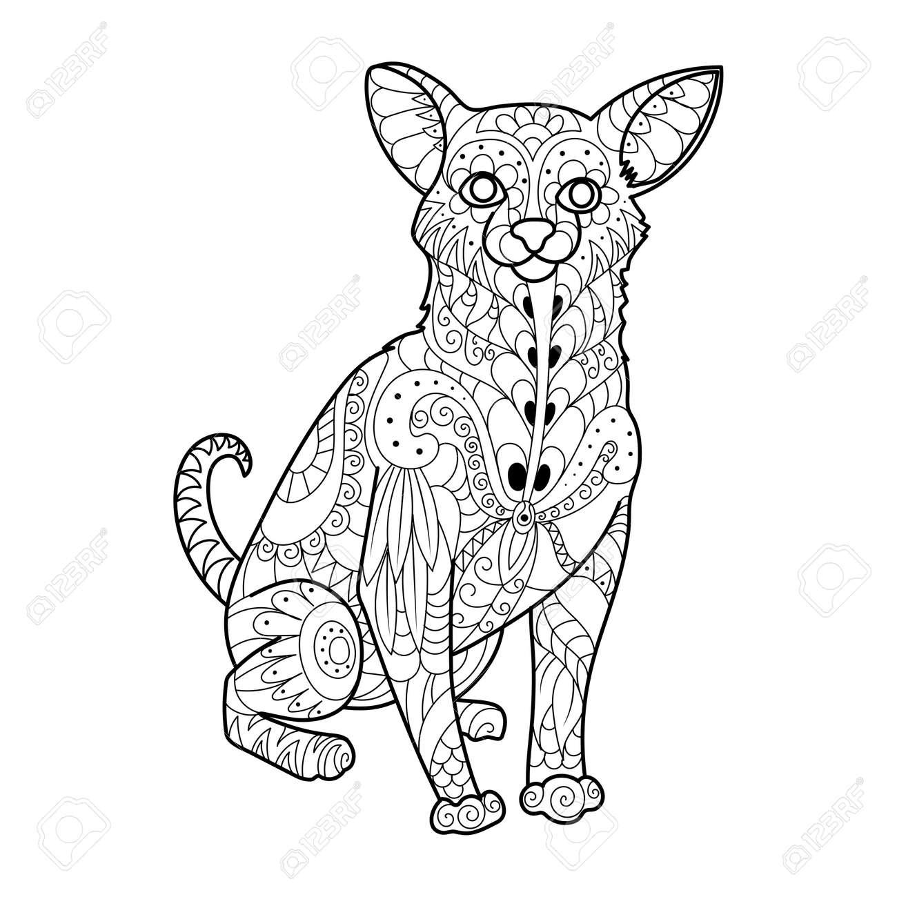 Ilustración De Vector De Chihuahua Perro Libro Para Colorear ...