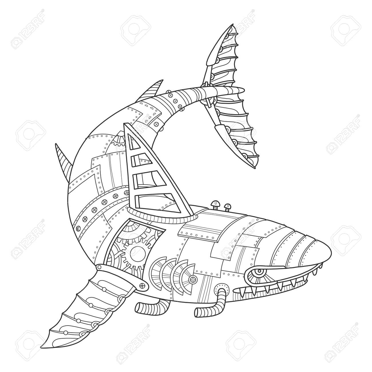 Steam Punk Style Shark Coloring Book Vector Royalty Free Cliparts ...