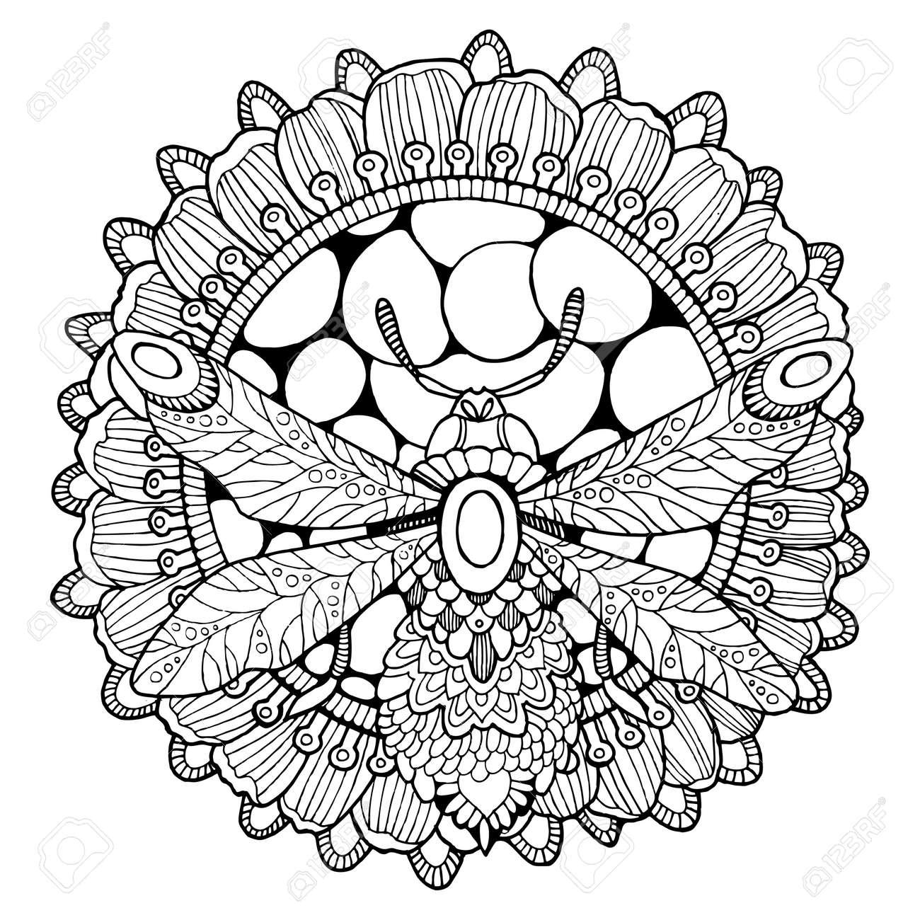 Coloriage Fleur Abeille.Abeille Et Fleur Illustration Vectorielle De Livre A Colorier
