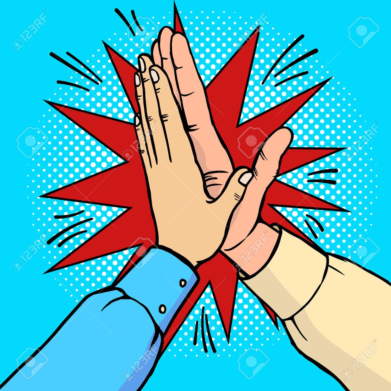 Hands high five pop art vector illustration - 76172751