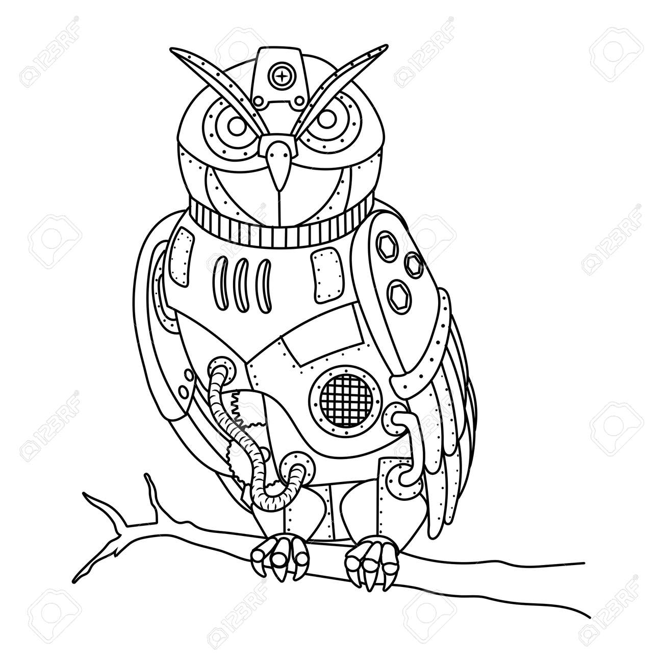 ste unk style owl coloring book vector royalty free cliparts  ste unk style owl coloring book vector stock vector 76782548