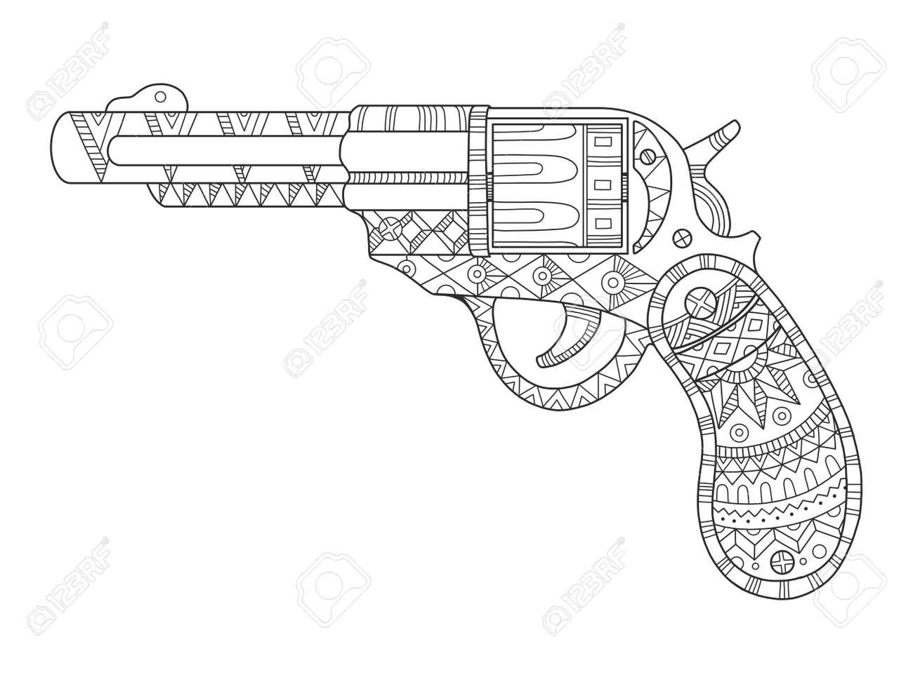 revólver pistola para colorear libro ilustración vectorial líneas
