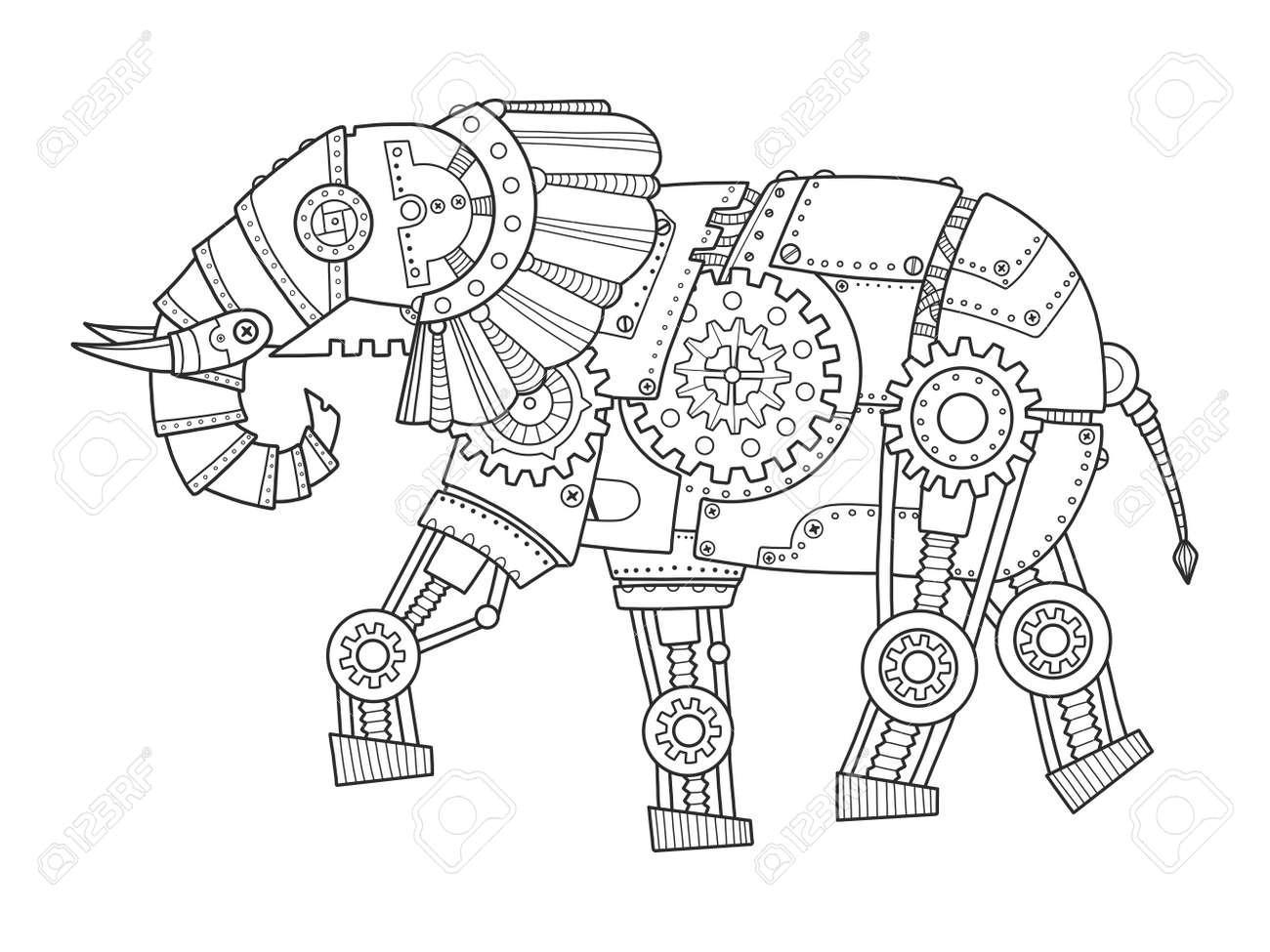Elefante Del Estilo Del Punky Del Vapor. Animal Mecánico