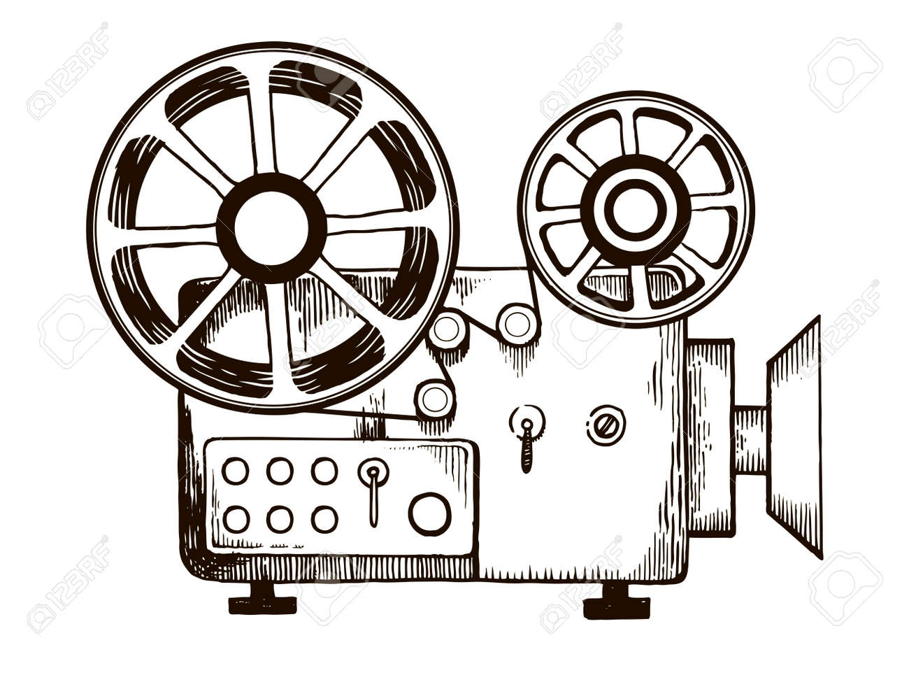 Old Cinema Projector Engraving Vector Illustration Stock