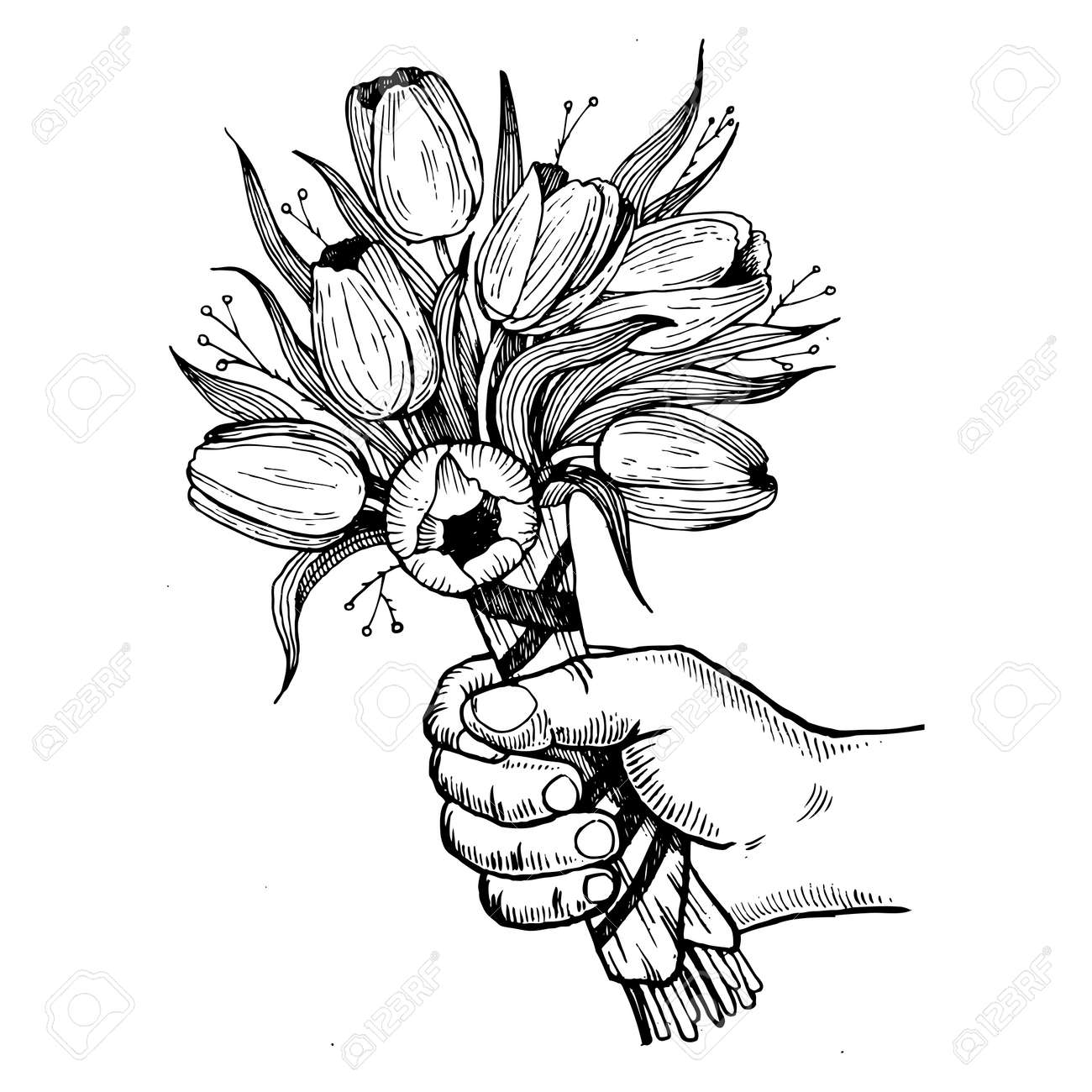 Hand Holds Bouquet Of Flowers Engraving Vector Illustration Scratch Board Style Imitation Drawn