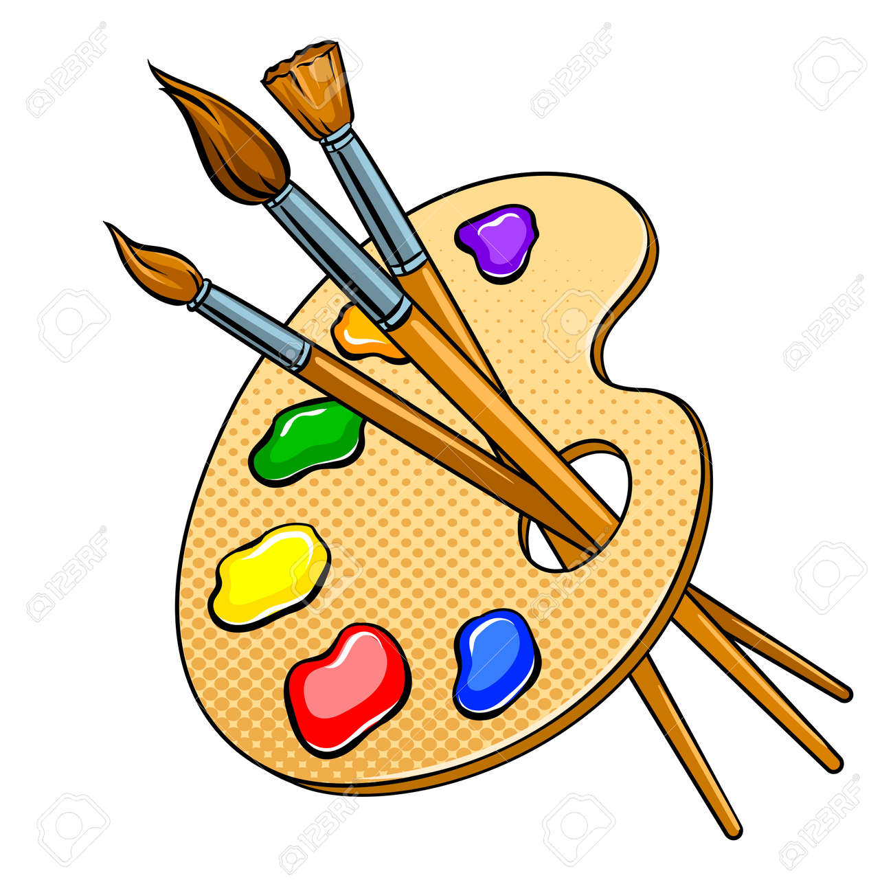Palette with paints and brushes pop art vector - 92309248