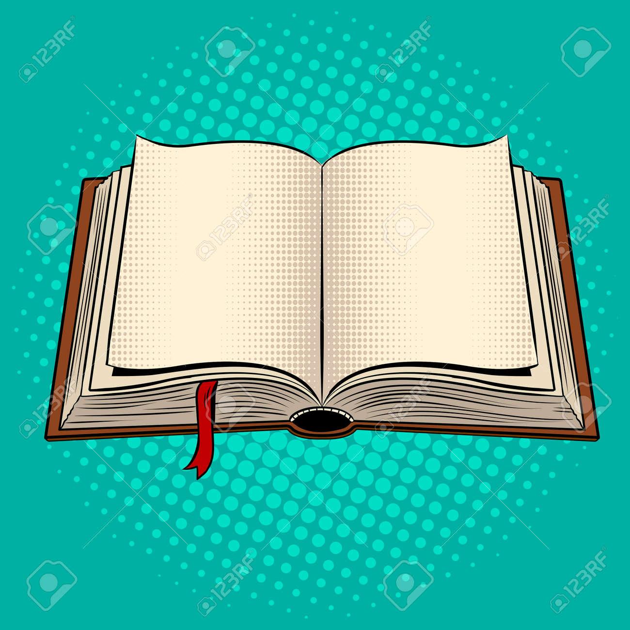 Open book pop art vector illustration. - 92510827