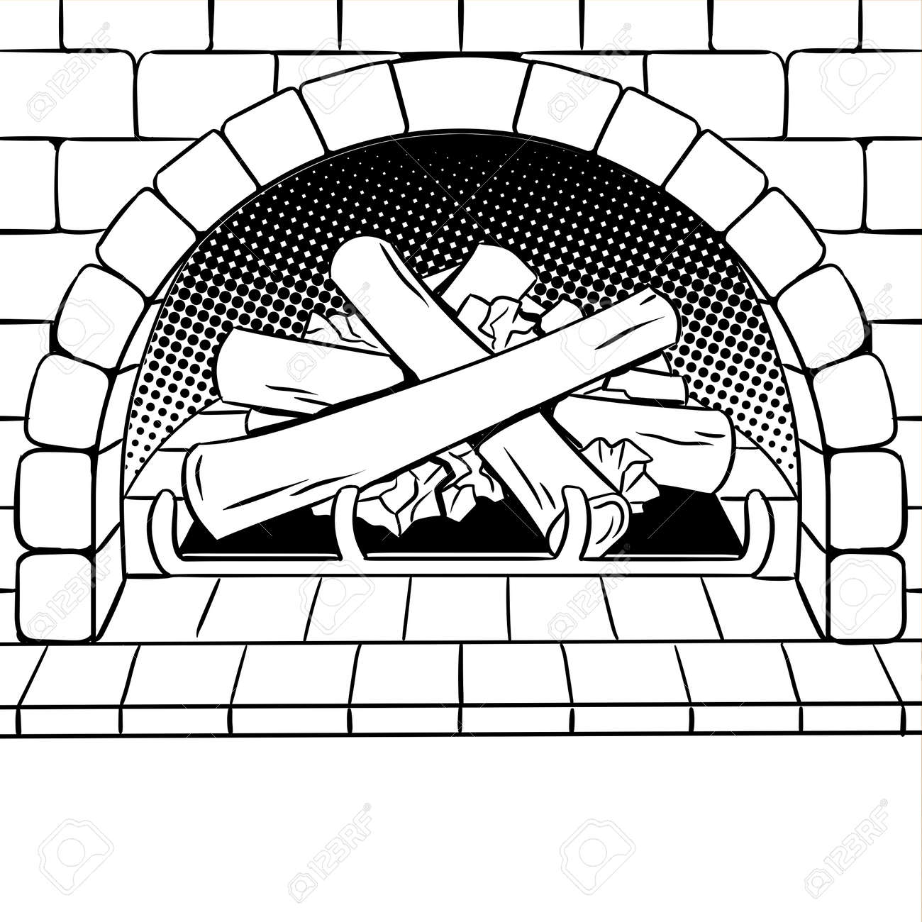 Fireplace With Wood Coloring Book Vector Illustration Isolated