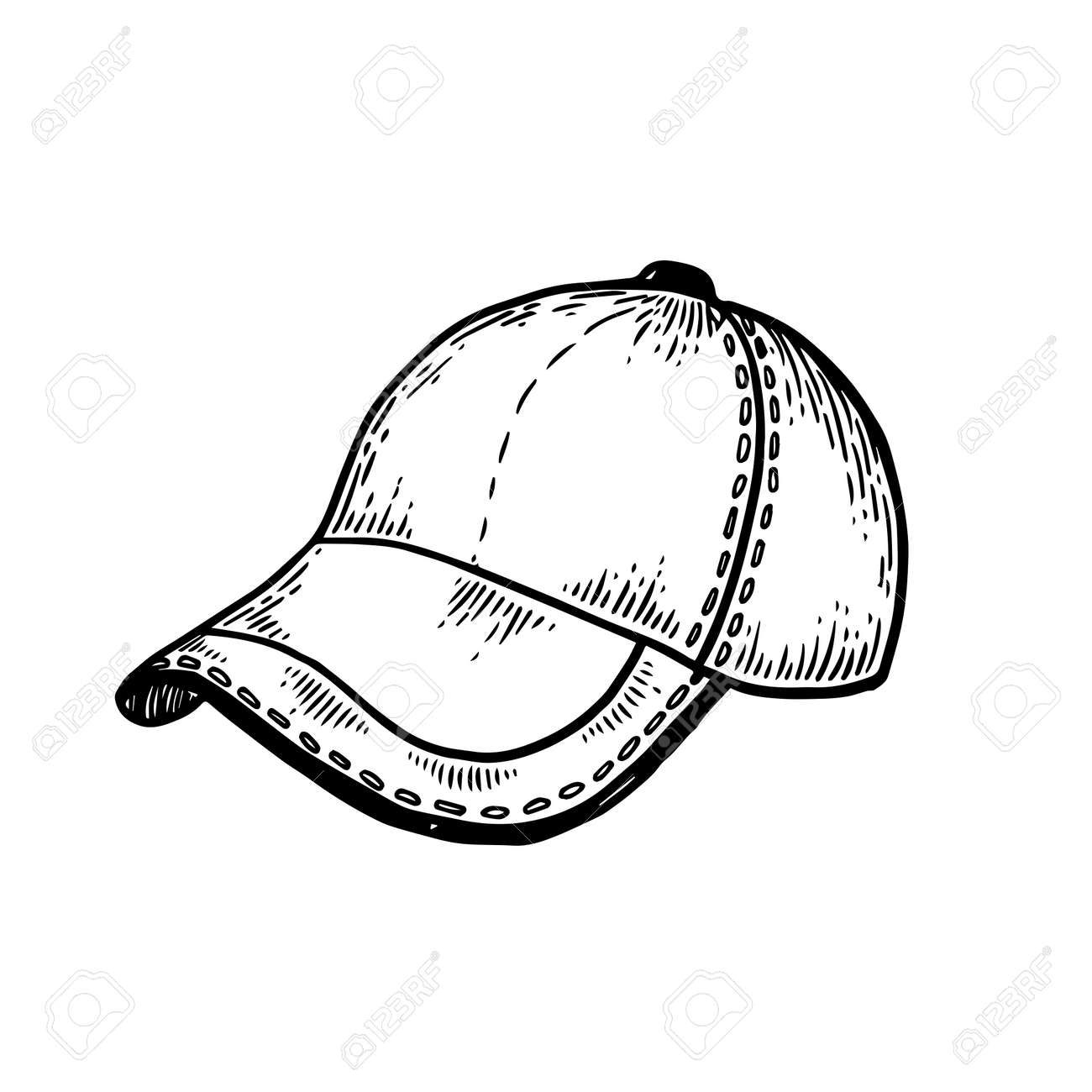 6420dad1 Baseball sport equipment cap engraving vector illustration. Isolated image  on white background. Scratch board