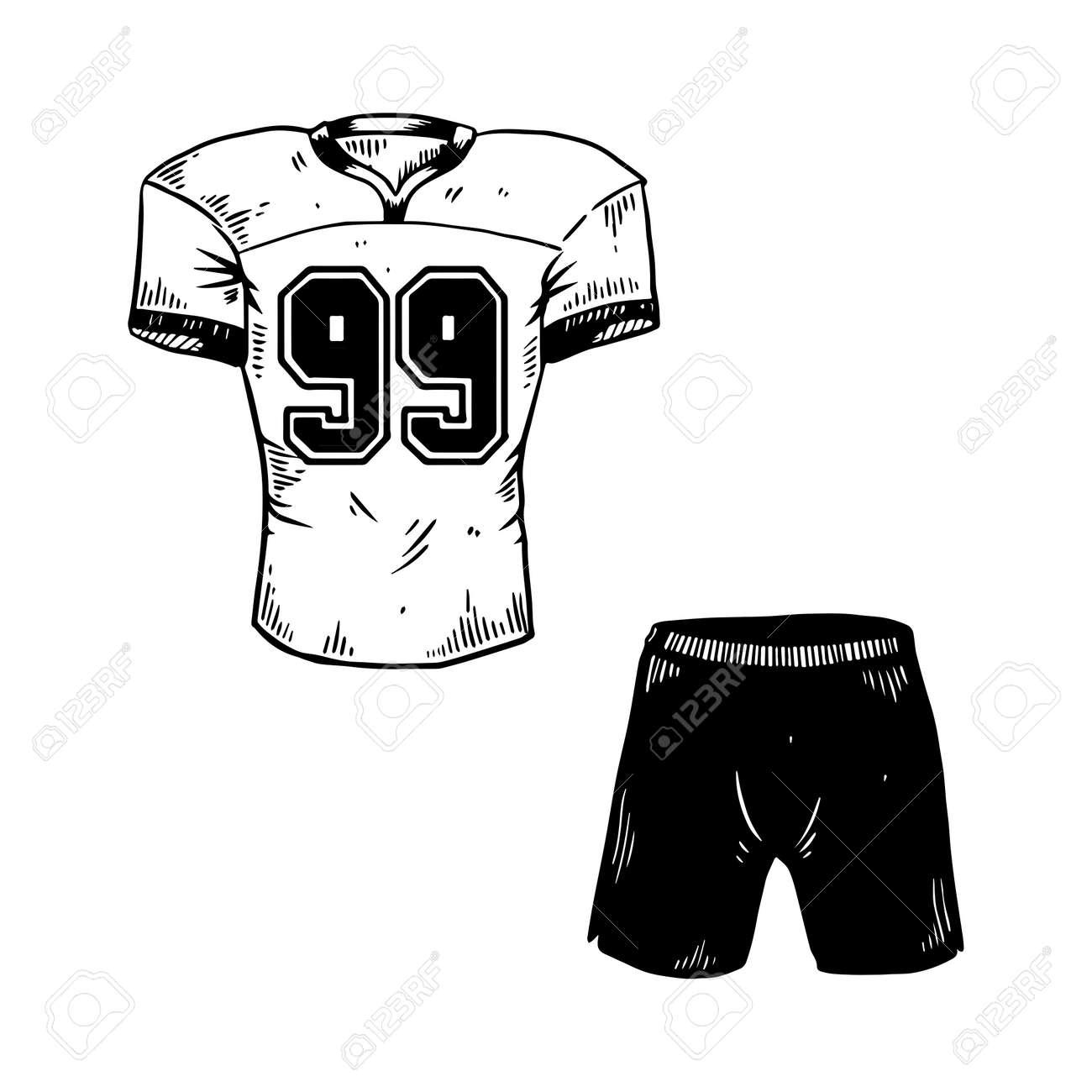 eeffdeca17 Pantalones Cortos De La Camiseta Del Equipo Del Deporte Del Fútbol Americano  Que Graban La Ilustración Del Vector. Imagen Aislada En El Fondo Blanco.