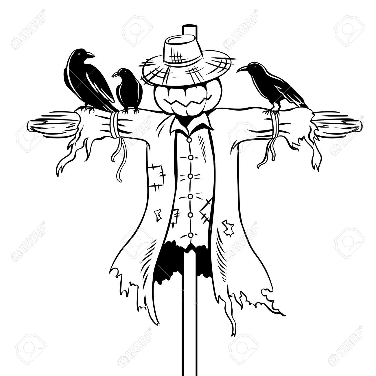 Scarecrow coloring book vector illustration.