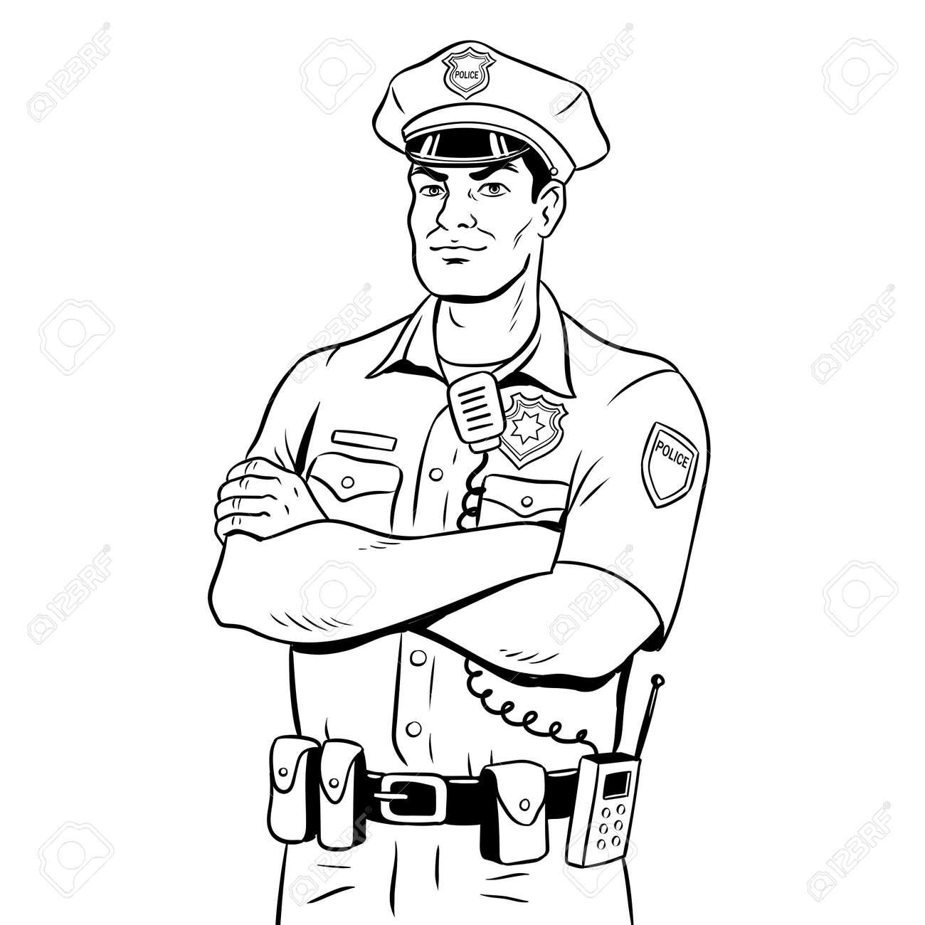 Ilustración Del Vector Del Libro De Colorear Del Policía ...