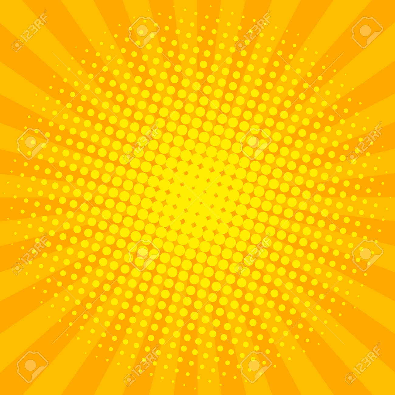 Yellow sun shine halftone design background retro vector illustration. - 93396383