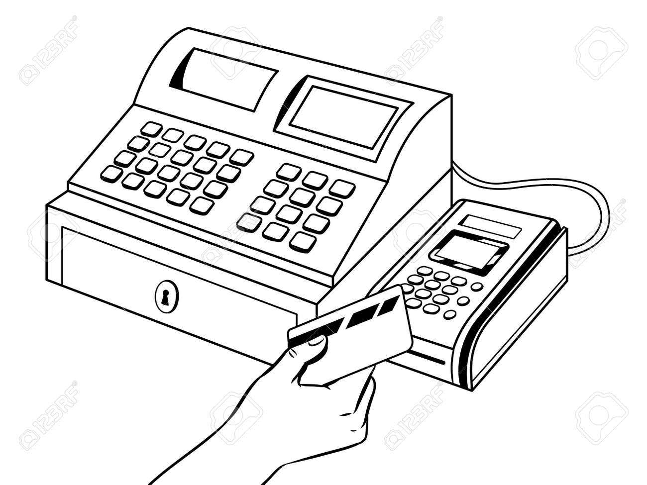 Cash Register With Pos Terminal Coloring Book Royalty Free Cliparts ...