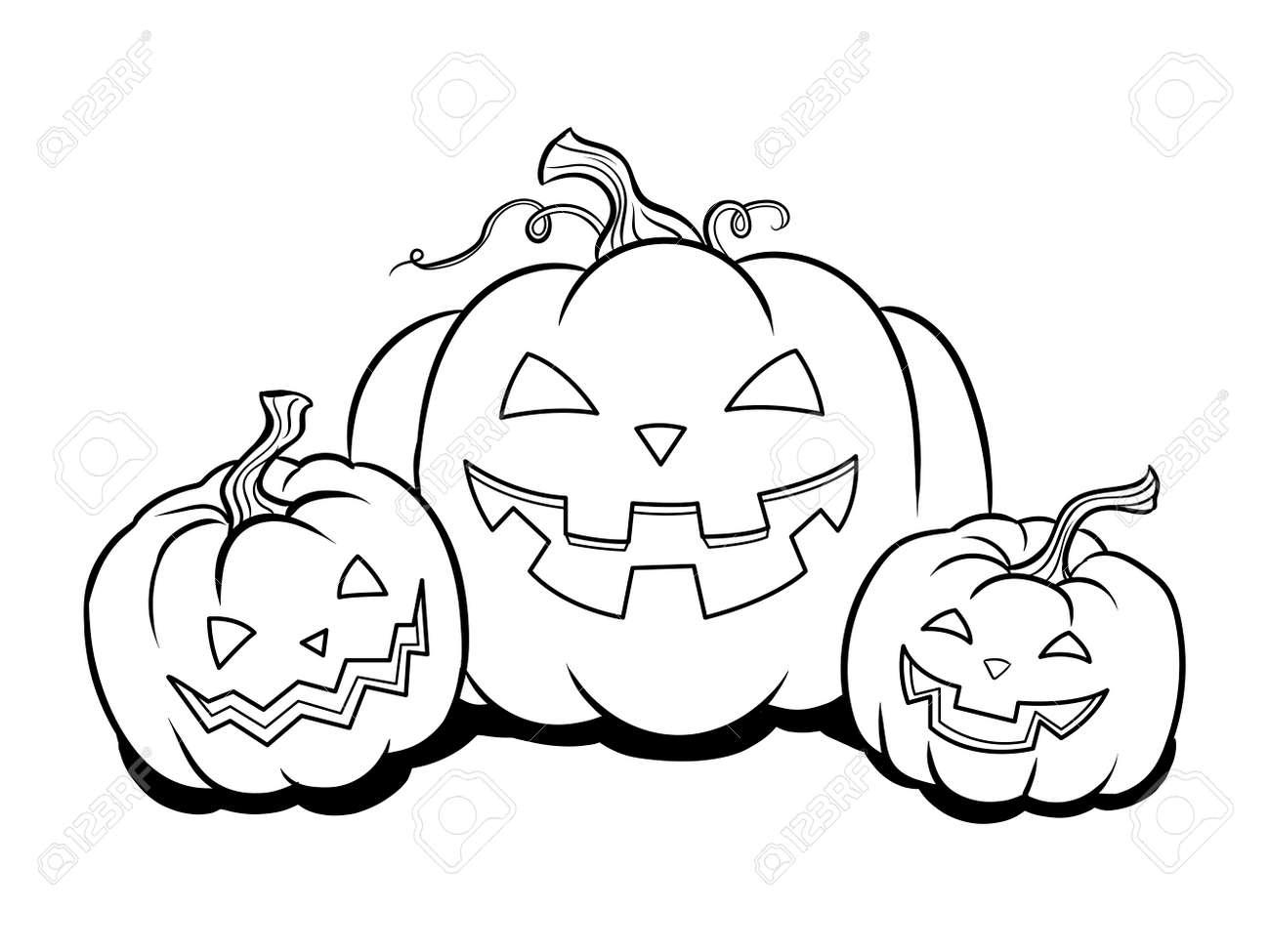 Halloween Pumpkin Coloring Book Vector Royalty Free Cliparts ...