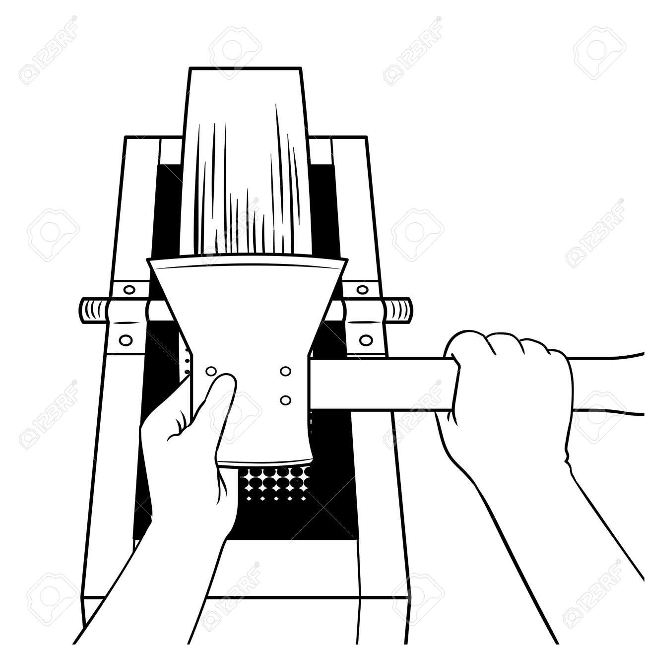 schärfen axt auf schleifstein malbuch vektor lizenzfrei nutzbare