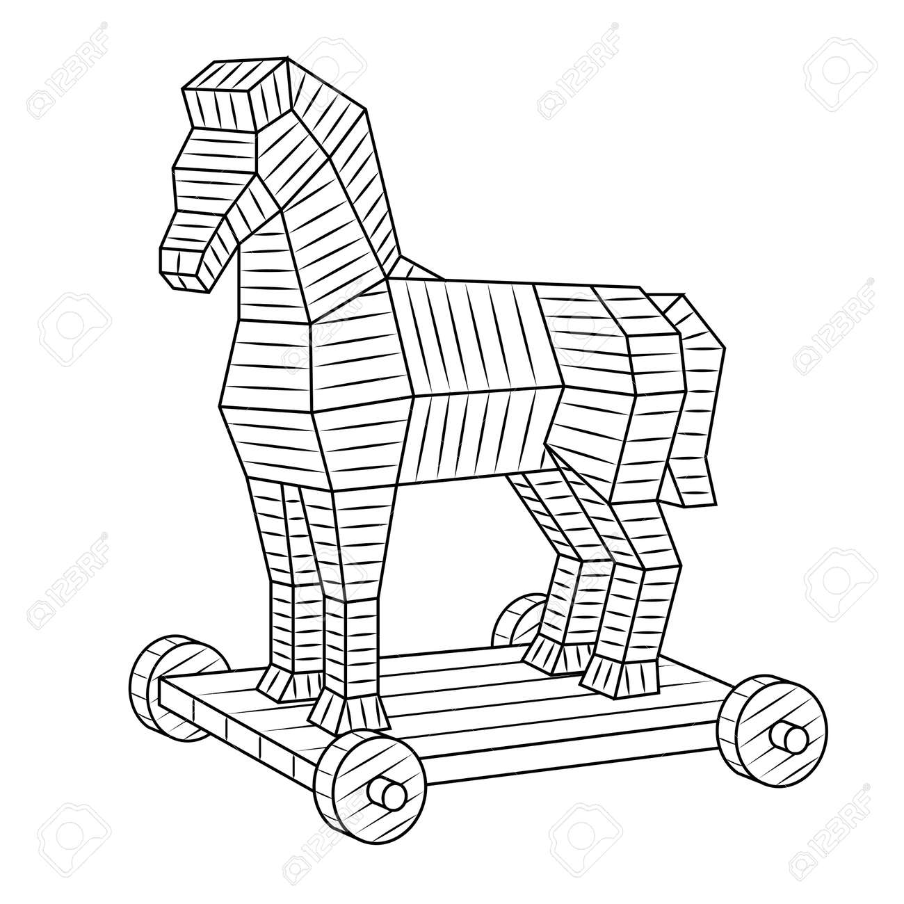 Trojan Horse Coloring Book Vector Royalty Free Cliparts Vectors And Stock Illustration Image 94611190