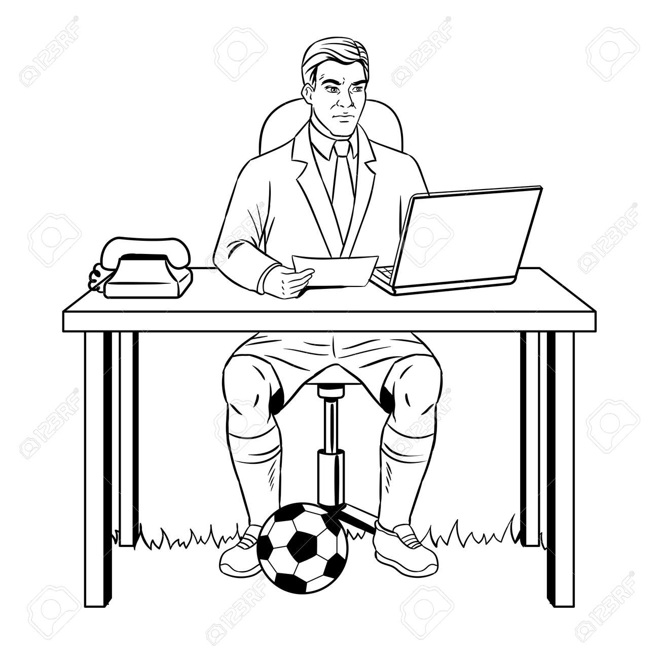 Businessman Soccer Coloring Book Vector Royalty Free Cliparts ...