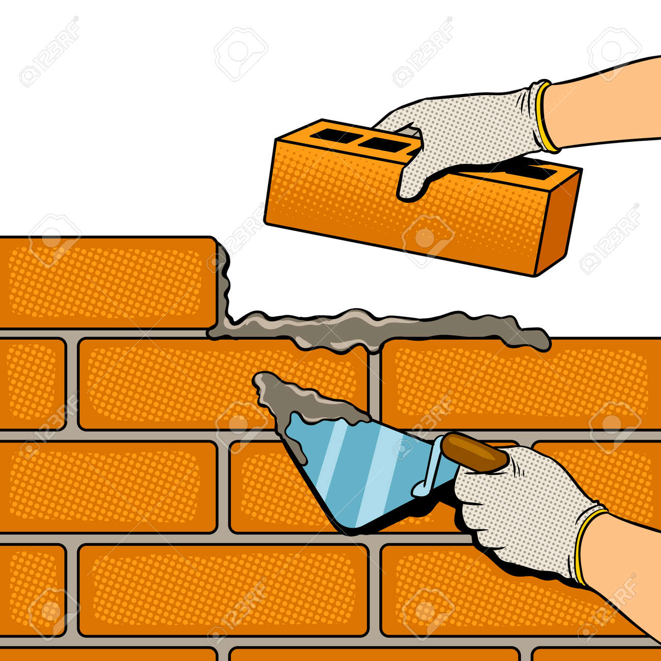 Brick Wall Building Process Pop Art Retro Vector Illustration Isolated Image On White Background