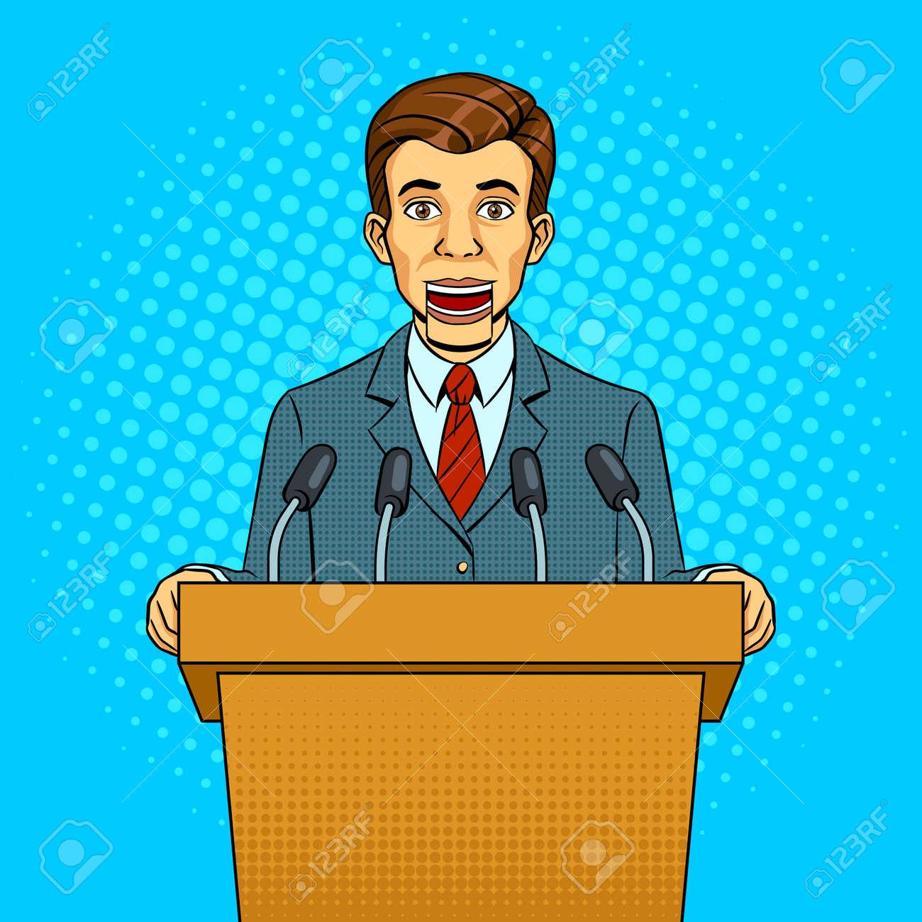 Speaking puppet on tribune - 95372565