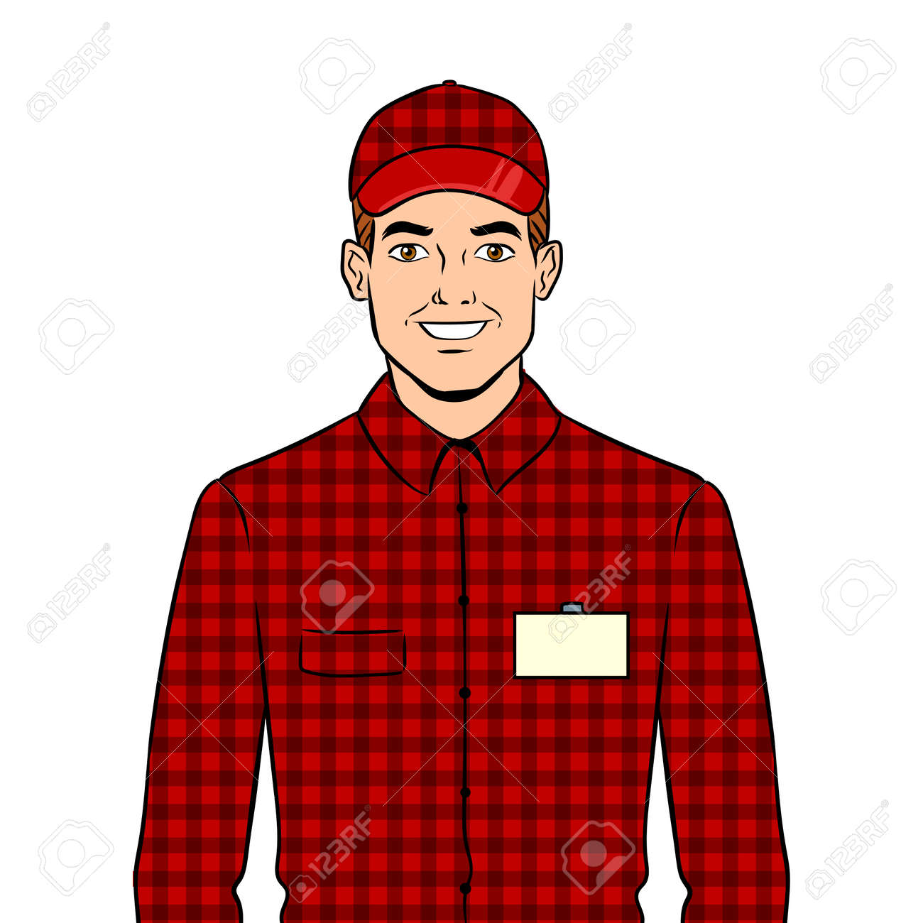 Seller guy with hat pop art vector illustration. Stock Vector - 98283330 7ac62c123a4