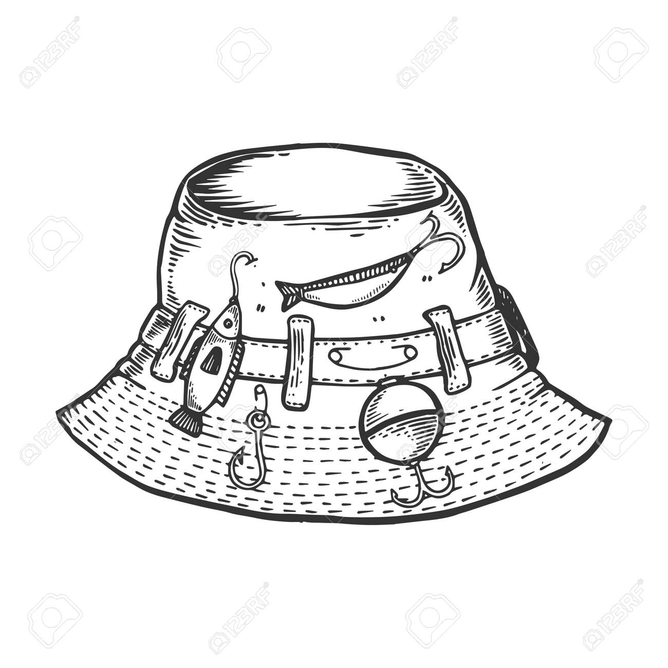 42cf92ee4bb Fisherman hat engraving vector illustration. Scratch board style imitation.  Black and white hand drawn