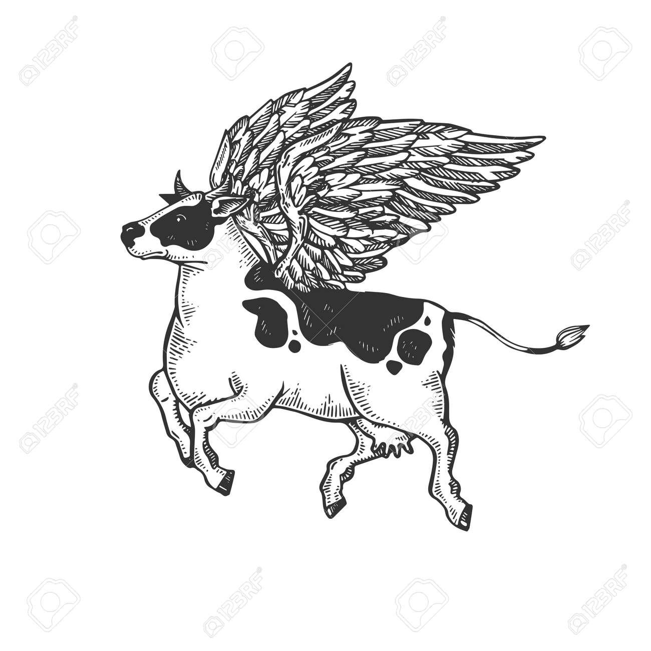 Fake Flying Cow Farm Animal Engraving Vector Illustration Scratch