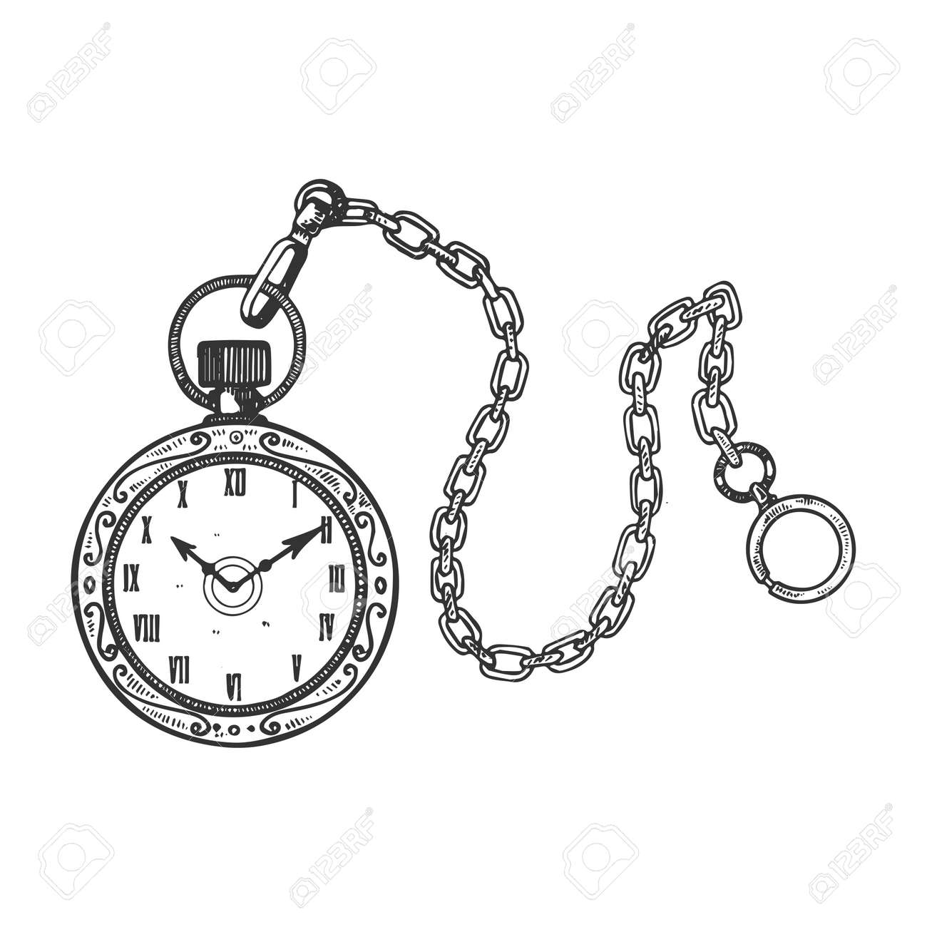 Old fashioned vintage clock watch engraving vector illustration. Scratch board style imitation. Black and white hand drawn image. - 100772077