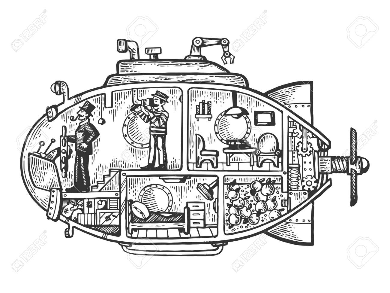 Fantastic fabulous submarine engraving vector illustration. Scratch board style imitation. Black and white hand drawn image. - 112010264