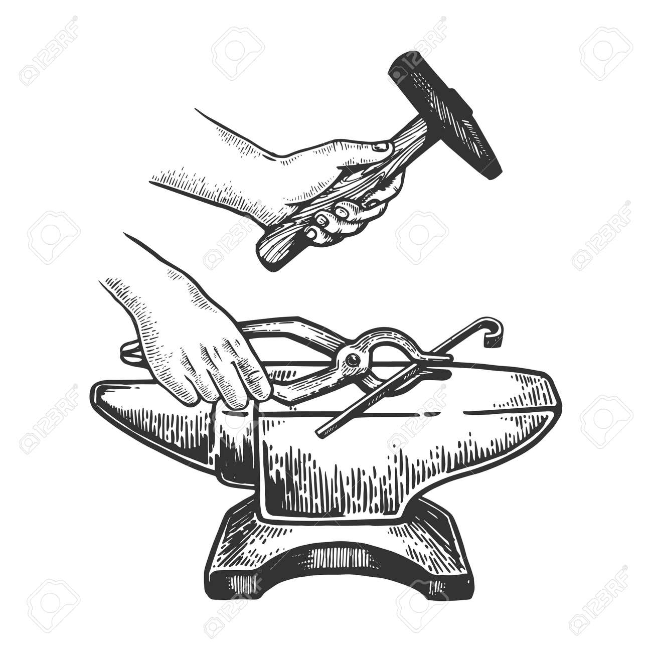 Blacksmith works on anvil with hammer engraving vector illustration. Scratch board style imitation. Black and white hand drawn image. - 107923211