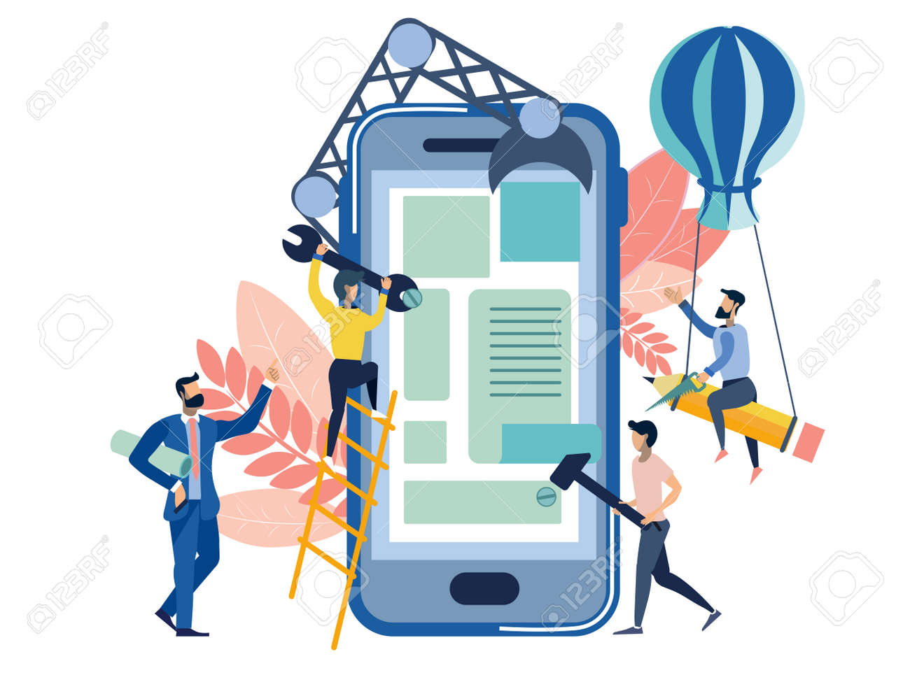 User interface of mobile application createion metaphor. Business work situation in flat style. Cartoon vector illustration - 124033284