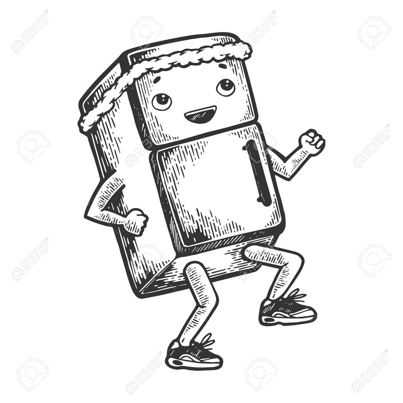 Fridge runner on its feet cartoon character sketch engraving