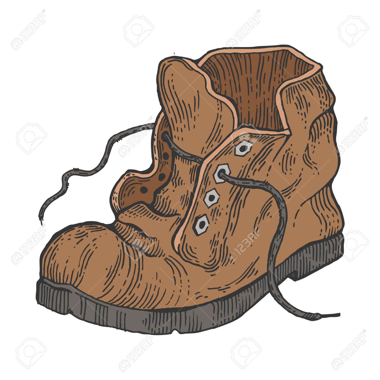 Old shabby boot color sketch engraving vector illustration. Scratch board style imitation. Hand drawn image. - 117552553