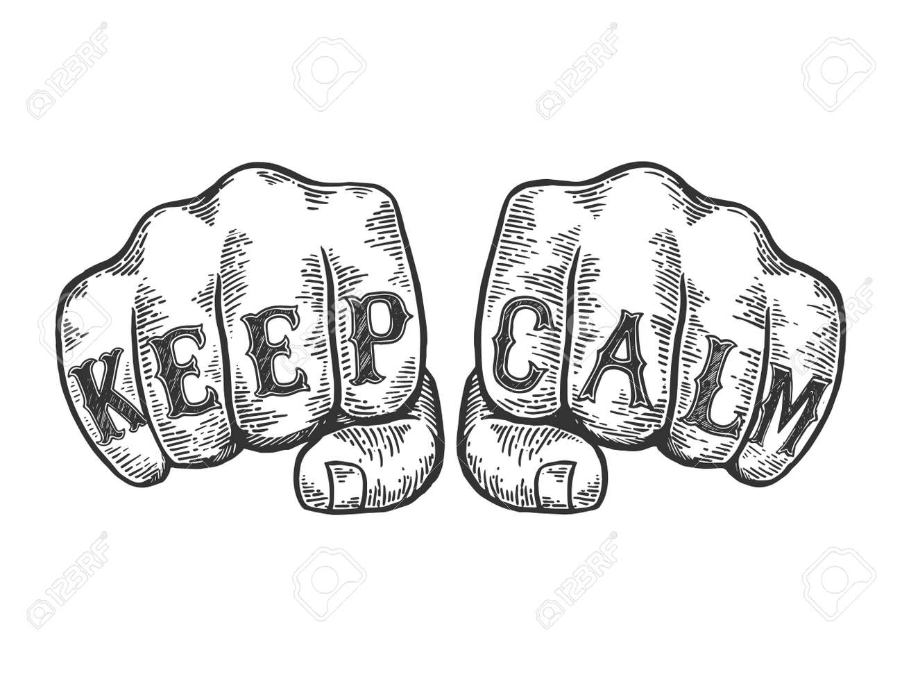 Keep calm words tattoo on fists font sketch engraving vector illustration. Scratch board style imitation. Black and white hand drawn image. - 118846950