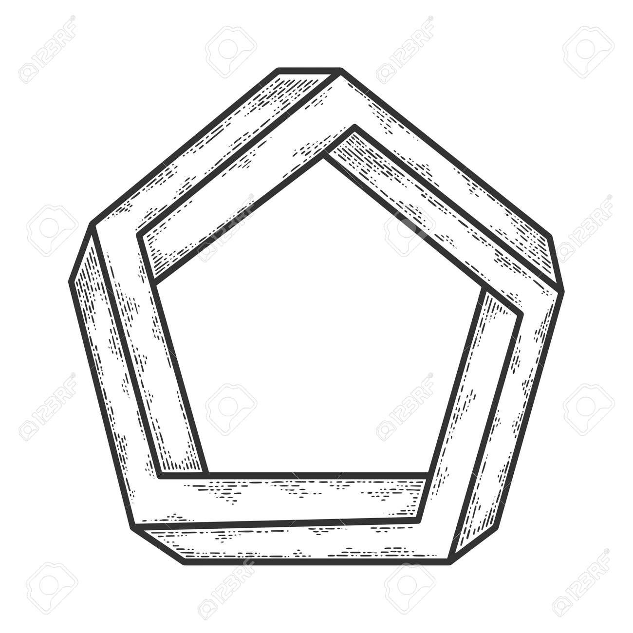 impossible pentagon sketch engraving illustration. T-shirt apparel print design. Scratch board imitation. Black and white hand drawn image. - 137493562