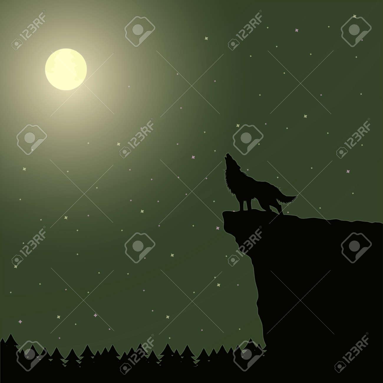 Ilustración Vectorial De Un Lobo Aullando A La Luna Ilustraciones