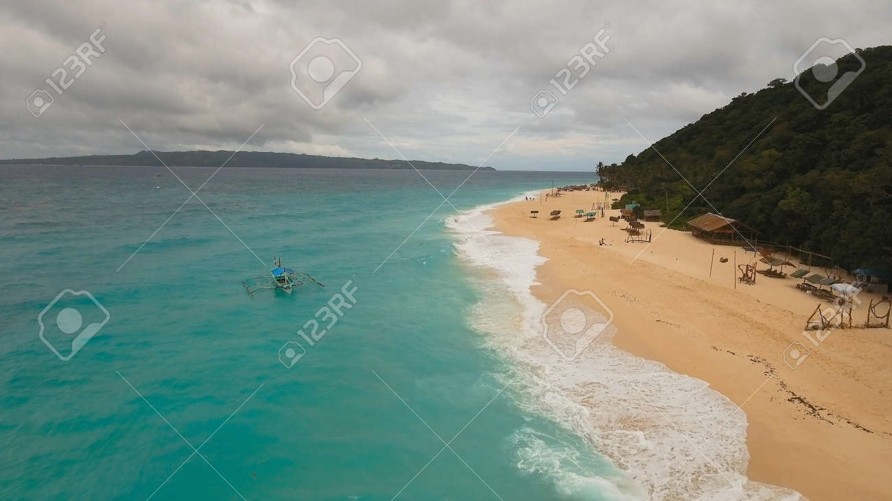 Aerial View Of Beautiful Tropical Island With White Sand Beach