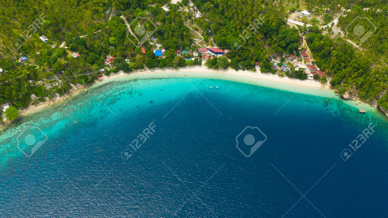 Aerial view of sandy beach on a tropical island with palm trees. Canibad beach, Philippines,Samal island. - 168137974