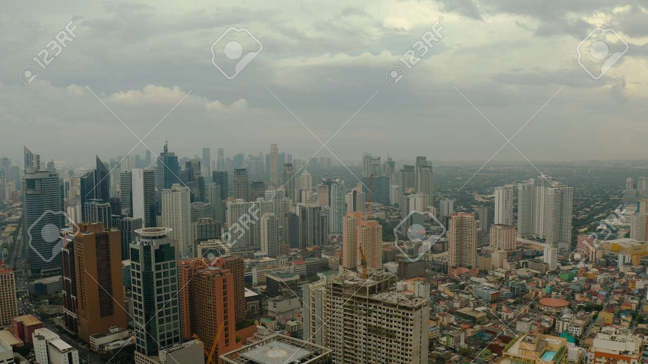 Skyscrapers and business centers in a big city Manila top view. Modern metropolis in Asia, top view. - 168138055