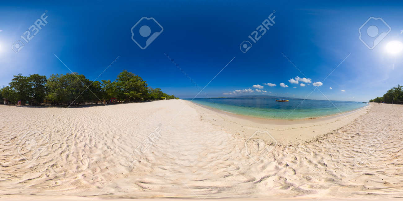 Island with a sandy beach and azure water surrounded by a coral reef and an atoll. Great Santa Cruz island. Zamboanga, Mindanao, Philippines. - 168998038