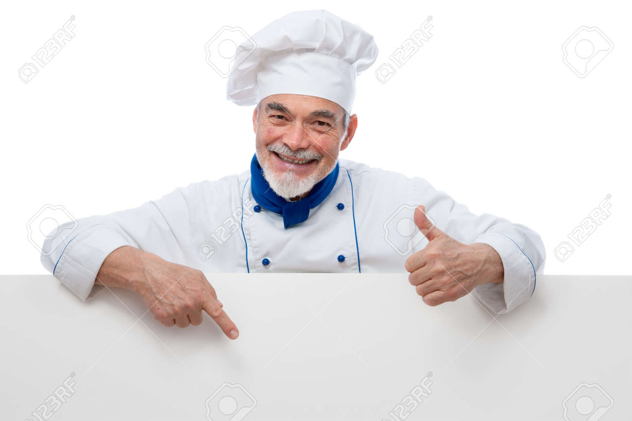 Chef presenting. Isolated on white background Stock Photo - 12027063