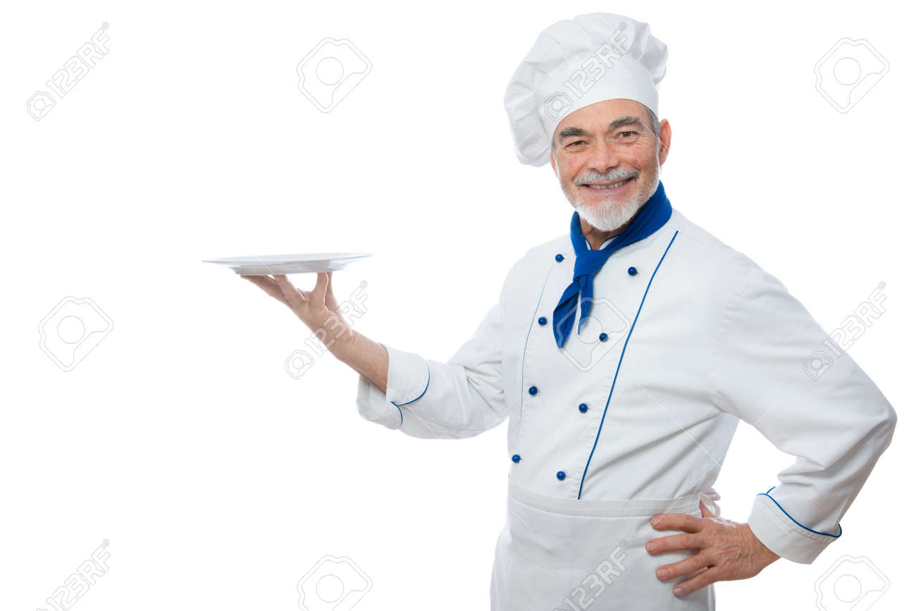 chef presenting isolated on white background stock photo picture