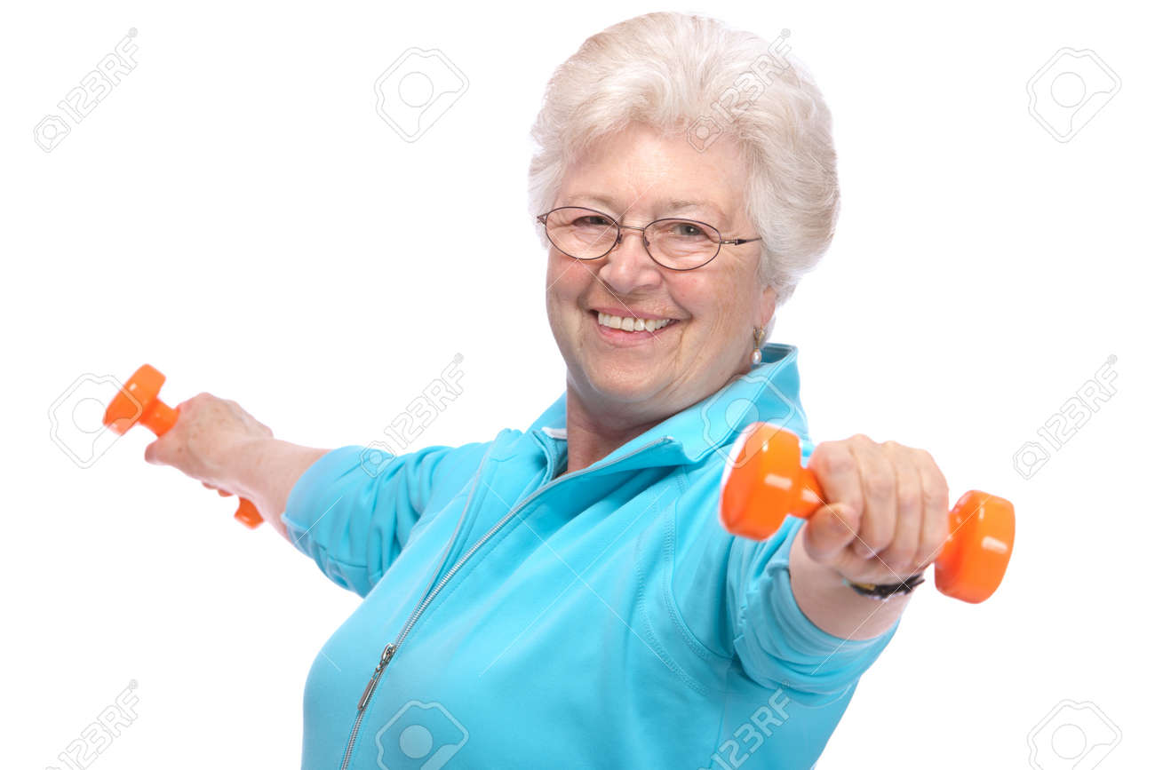 Happy senior woman making fitness training with dumbbells Stock Photo - 13203126