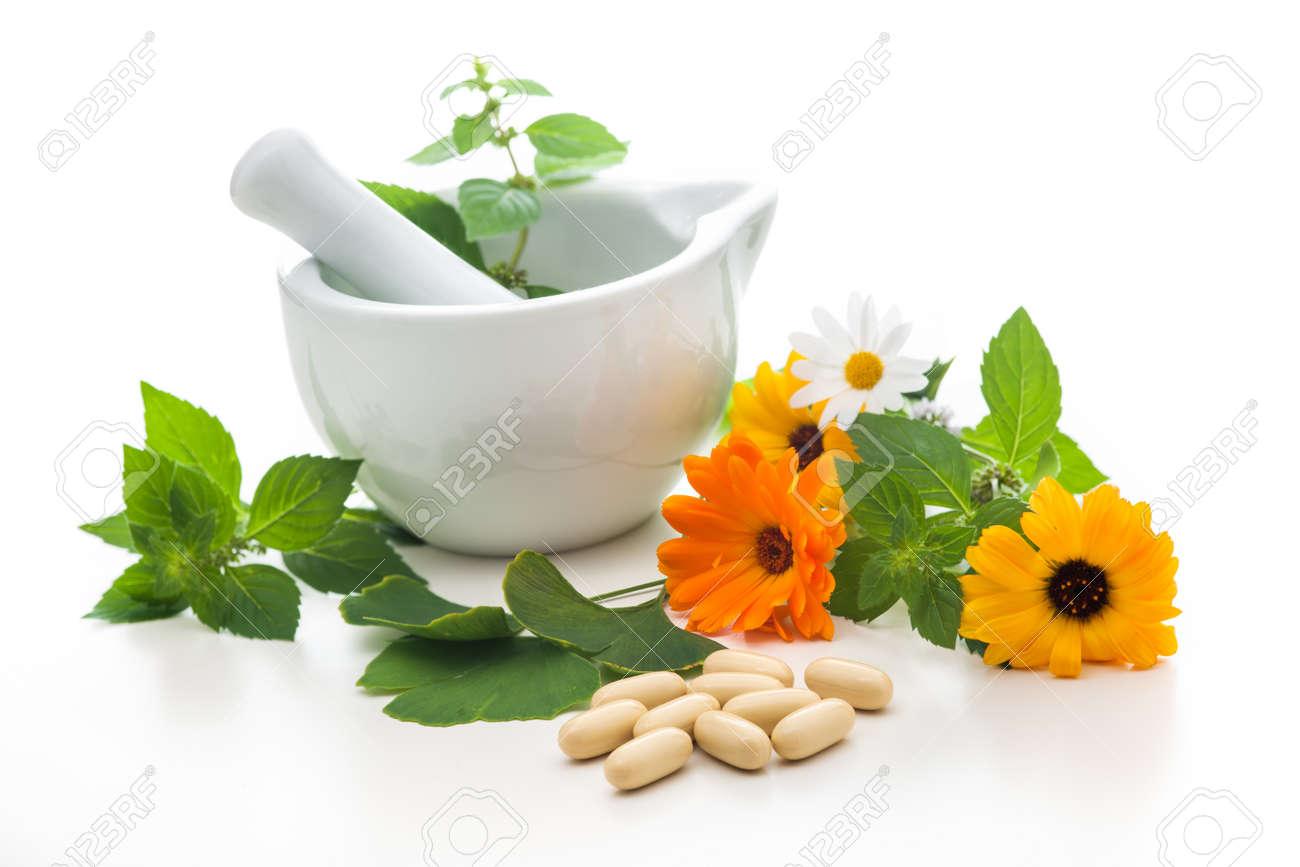 Healing herbs and amortar. Alternative medicine concept - 14666827