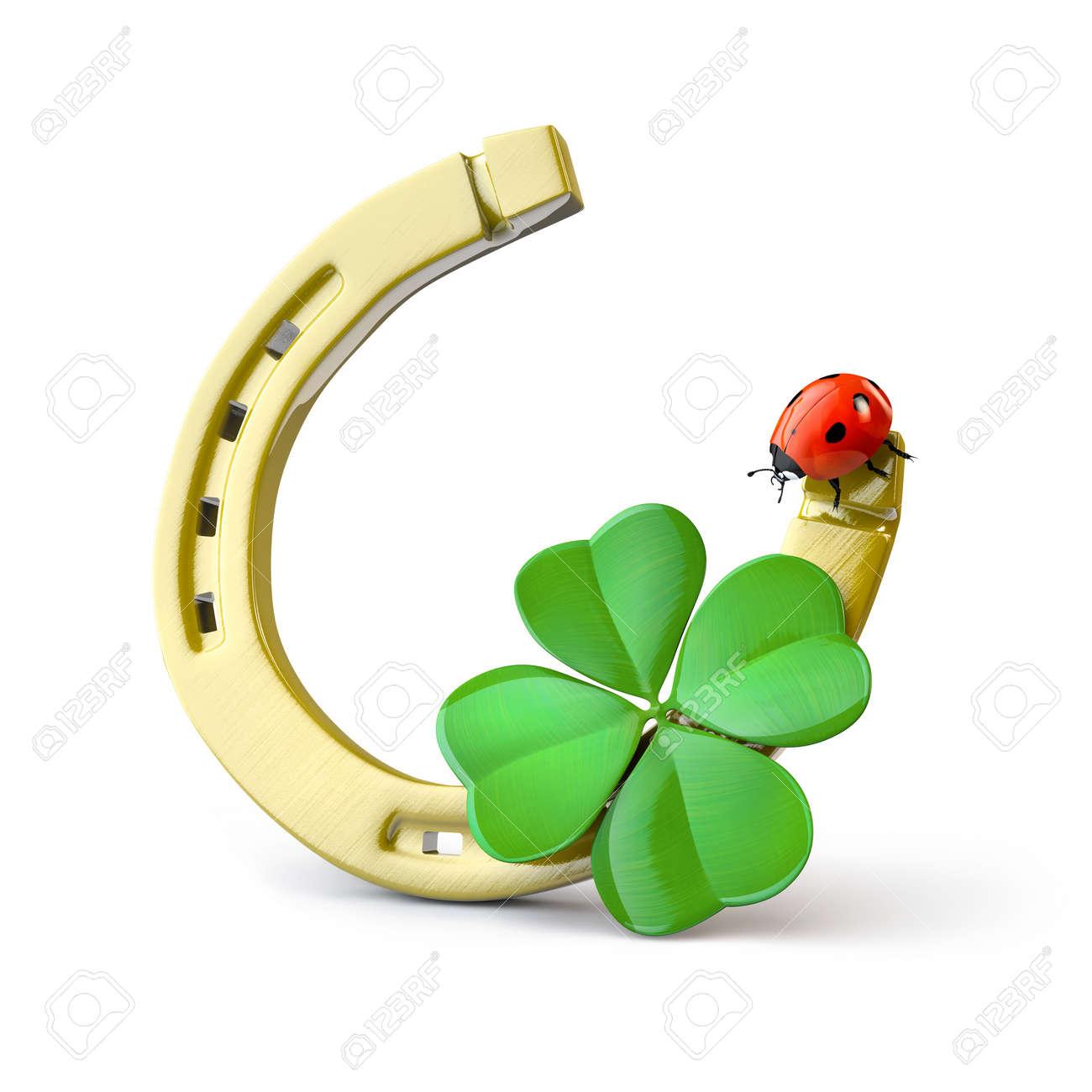 Coccinelle Symbole symboles de chance: en fer à cheval, trèfle à quatre feuilles et