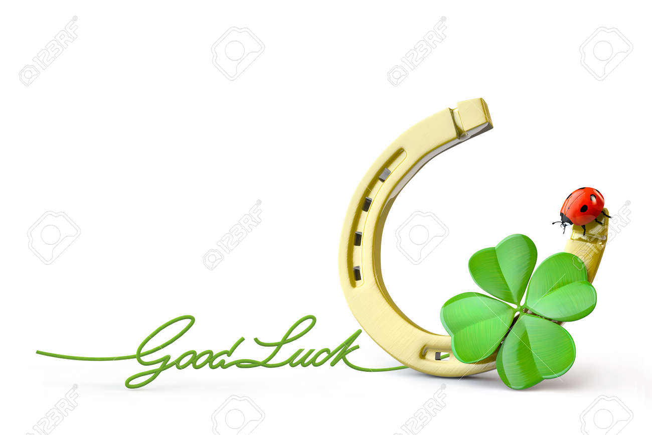 Good luck charm images stock pictures royalty free good luck lucky symbols horse shoe four leaf clover and ladybug stock photo buycottarizona