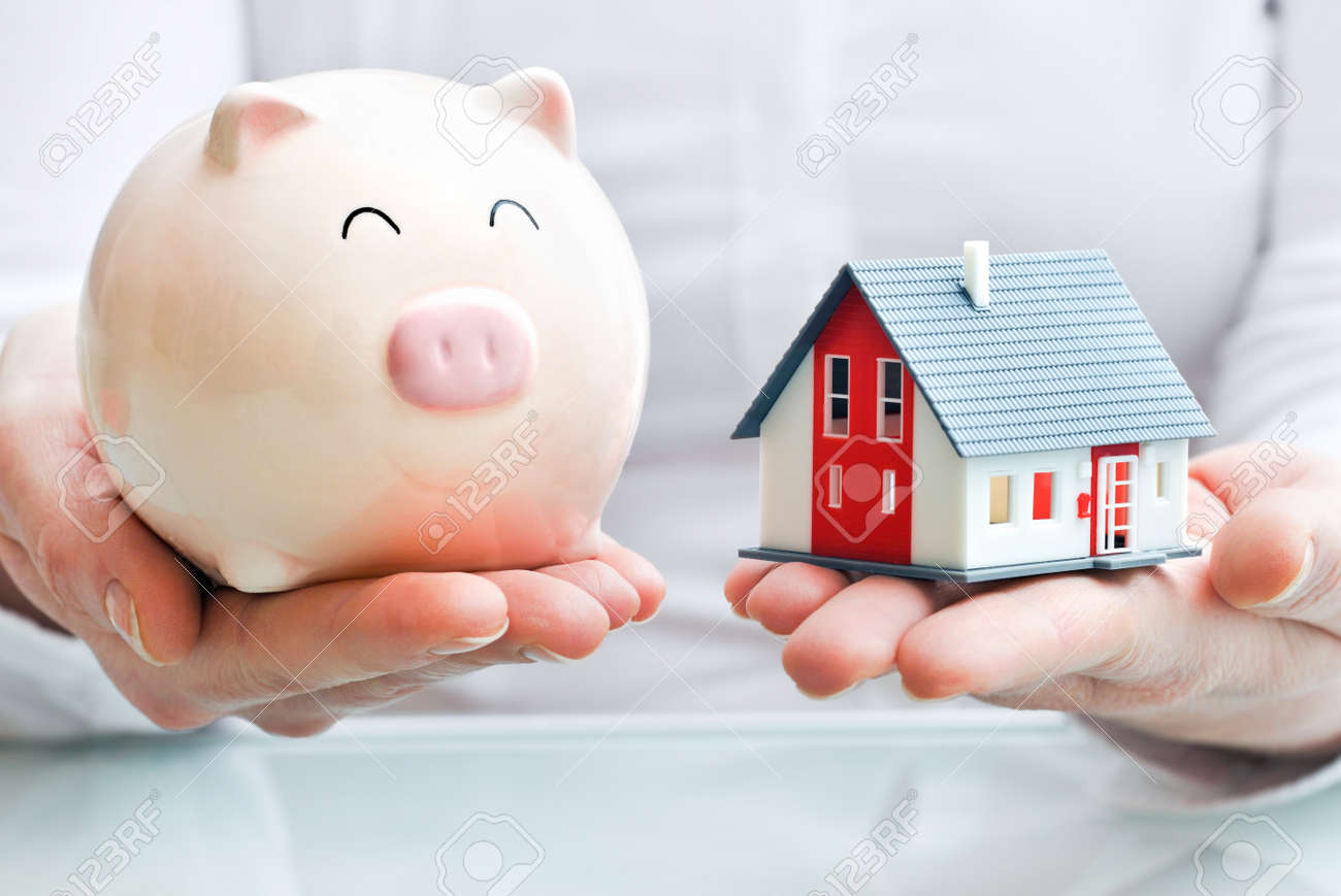 Hands holding a  piggy bank and a house model  Housing industry mortgage plan and residential tax saving strategy Stock Photo - 18233577