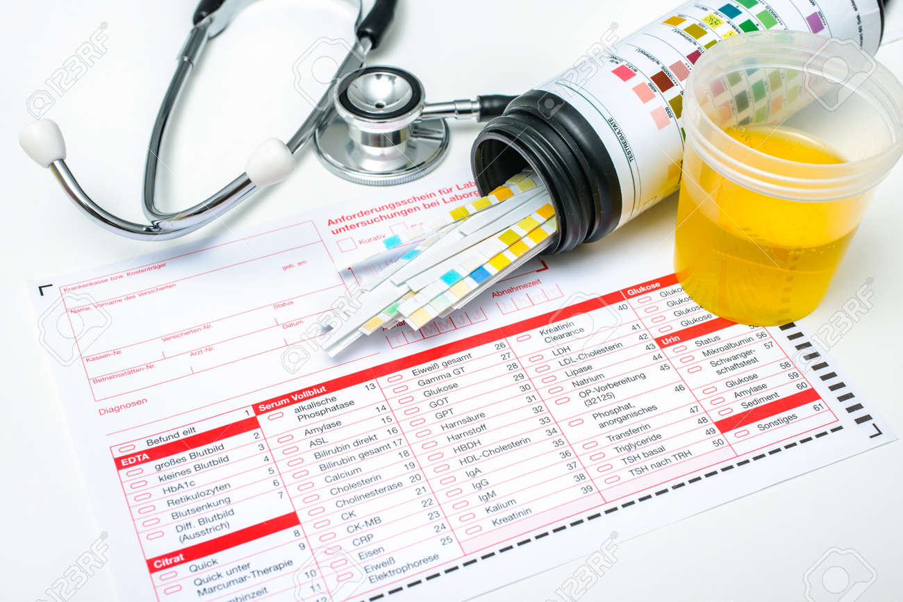 Check-up   Medical report and urine test strips Stock Photo - 20924716